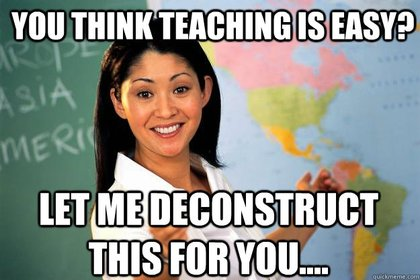 Meme that shows a teacher with the caption: