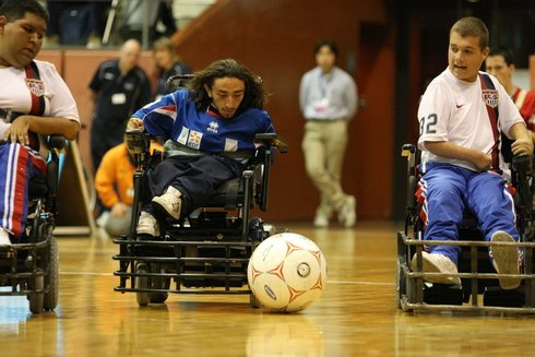 Image of power soccer action from the 2011 Word Cup