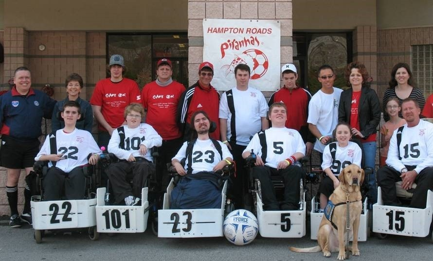Team photo of the Tidewater Piranhas Power Soccer Team from 2008